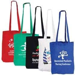 custom printed coloured cotton double long handle conference bags