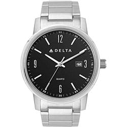 Promotional Black Face Watch With Folded Stainless Steel Band